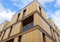 Contemporary apartment building made of wood at Hamburg